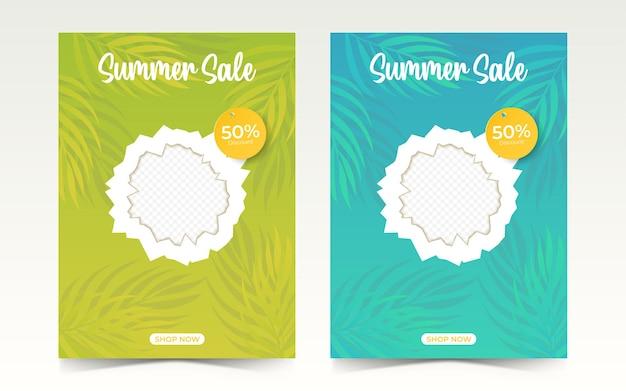 Modelo de cartaz de venda de verão com folhas de palma anúncios de banner de verão para promoção