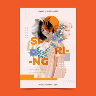 Modelo de cartaz de venda primavera em fundo laranja