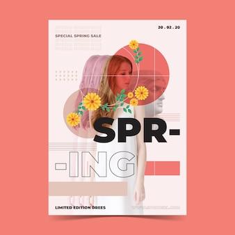 Modelo de cartaz de venda primavera em fundo peachy