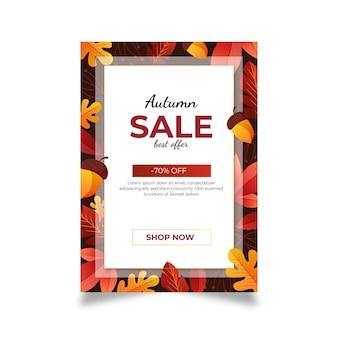 Modelo de cartaz de venda vertical outono gradiente