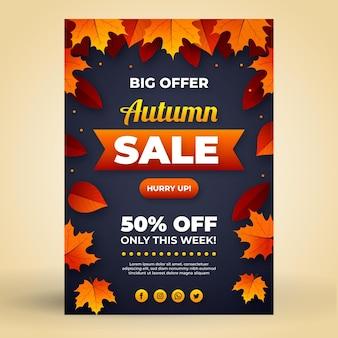 Modelo de cartaz de venda vertical plana de outono