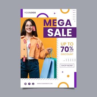 Modelo de cartaz de vendas abstrato plano