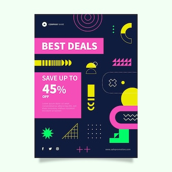 Modelo de cartaz de vendas especial abstrato plano