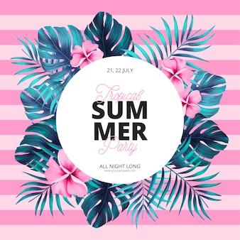 Modelo de cartaz de verão tropical