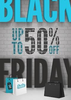 Modelo de cartaz de vetor 3d realista de venda black friday. ilustração de sacolas de compras de supermercado. ofertas especiais para promoção de clientes. 50 por cento de desconto em layout de banner de publicidade