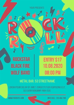 Modelo de cartaz de vetor de festa rock and roll. banner da web de evento de entretenimento. brochura de concerto de música