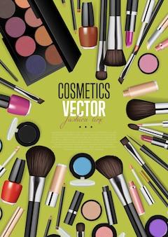 Modelo de cartaz de vetor de realismo maquiagem moda profissional