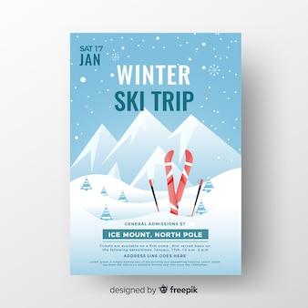Modelo de cartaz de viagem de esqui de inverno