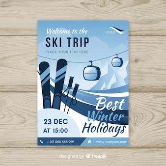 Modelo de cartaz de viagem de esqui funicular plana