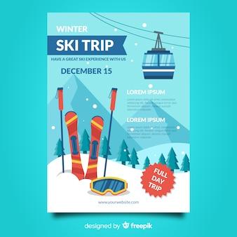 Modelo de cartaz de viagem de esqui funicular