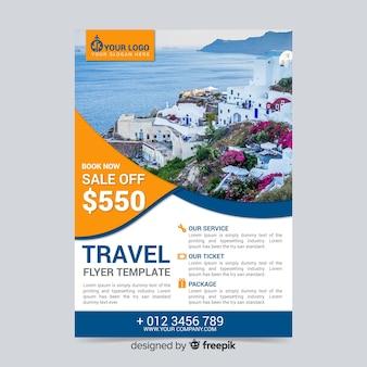 Modelo de cartaz de viagens com desconto