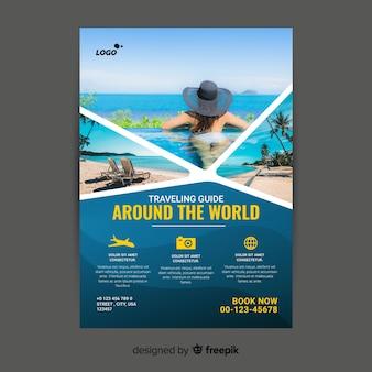 Modelo de cartaz de viagens com imagem