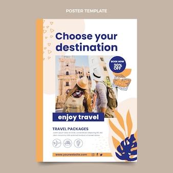 Modelo de cartaz de viagens de design plano
