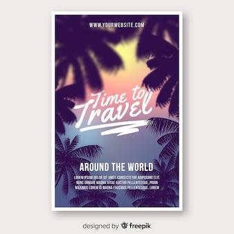 Modelo de cartaz de viagens de silhueta de palma