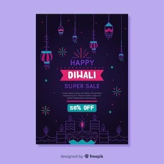 Modelo de cartaz desenhado mão de venda de diwali