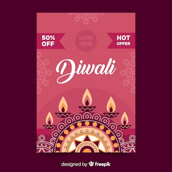 Modelo de cartaz - design plano diwali