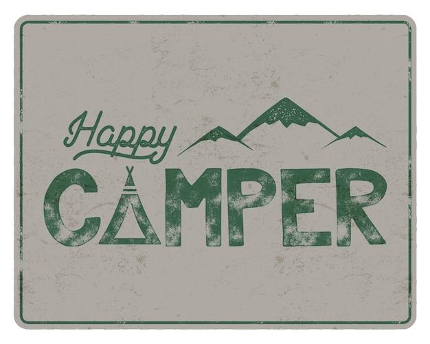 Modelo de cartaz do campista feliz. tenda, montanhas e sinal de texto. design de cores retrô. emblema de caminhada. vetor de ações isolado no fundo branco.