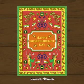 Modelo de cartaz do dia da independência em estilo de arte indiana