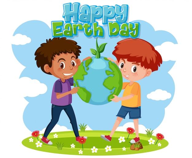 Modelo de cartaz do dia da terra com meninos felizes no parque