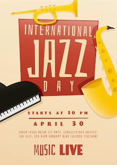 Modelo de cartaz do dia internacional do jazz de design plano