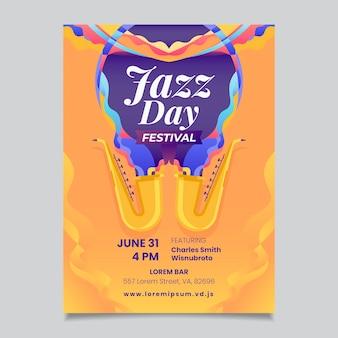 Modelo de cartaz do dia internacional do jazz em design plano