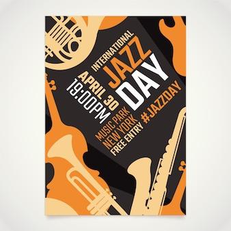 Modelo de cartaz do dia internacional do jazz plana