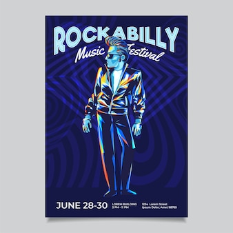 Modelo de cartaz do evento de música rockabilly rock n roll. personagem legal com penteado pompadour e jaqueta de couro.