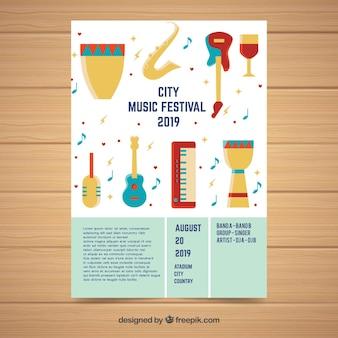 Modelo de cartaz do festival com instrumentos musicais