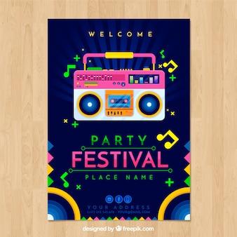 Modelo de cartaz do festival com leitor de cassetes de rádio