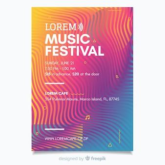 Modelo de cartaz do festival de música abstrata colorida