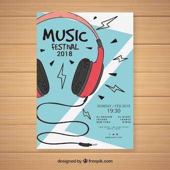 Modelo de cartaz do festival de música com fones de ouvido