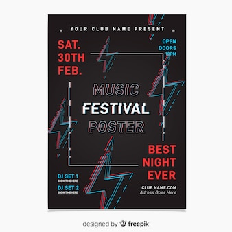 Modelo de cartaz do festival de música de falha
