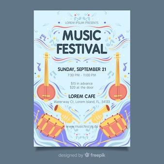 Modelo de cartaz do festival de música de mão desenhada
