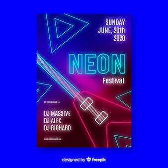 Modelo de cartaz do festival de música de néon
