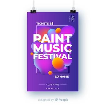 Modelo de cartaz do festival de música de pintura abstrata
