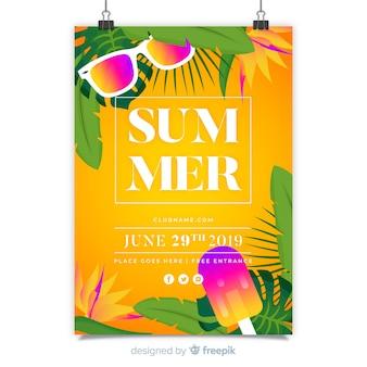 Modelo de cartaz do festival de música de verão
