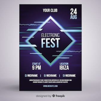 Modelo de cartaz do festival de música eletrônica