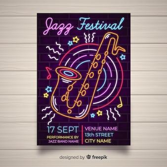 Modelo de cartaz do festival de música estilo de luzes de néon
