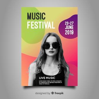 Modelo de cartaz do festival de música gradiente