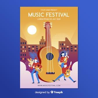Modelo de cartaz do festival de música plana
