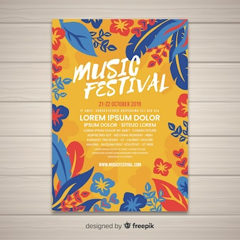 Modelo de cartaz do festival de música tropical vintage