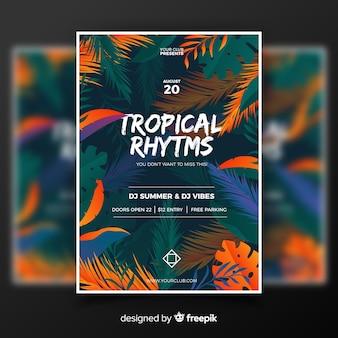 Modelo de cartaz do festival de música tropical vintage