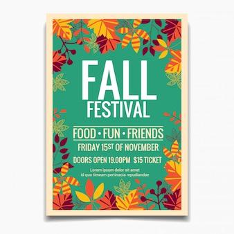 Modelo de cartaz do festival de outono