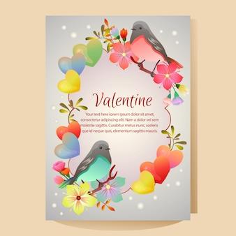 Modelo de cartaz dos namorados com pássaro casal