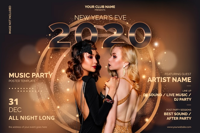 Modelo de cartaz elegante festa de ano novo