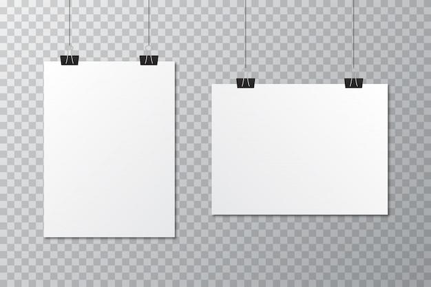 Modelo de cartaz em branco branco com clipe de papelaria