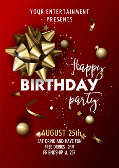 Modelo de cartaz feliz aniversário festa convite vector