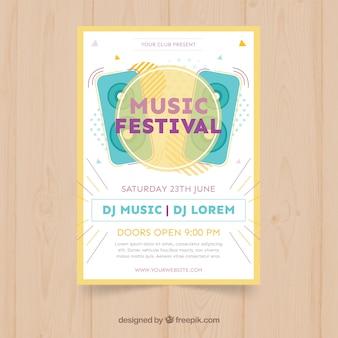 Modelo de cartaz festival de música com alto-falantes