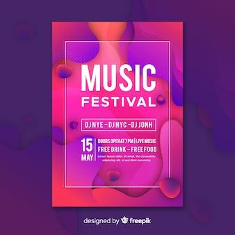 Modelo de cartaz festival de música com efeito líquido