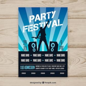 Modelo de cartaz festival de música com estilo abstrato